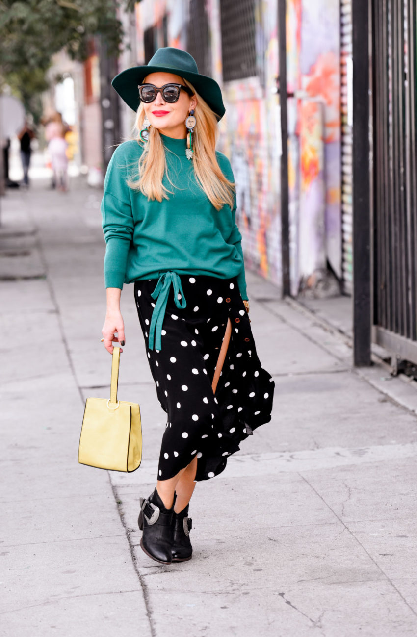 Cowgirl Booties, Green Sweater, Polka Dots.