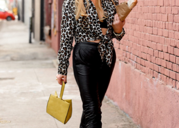 Leopard Print Shirt, Faux Leather Joggers.
