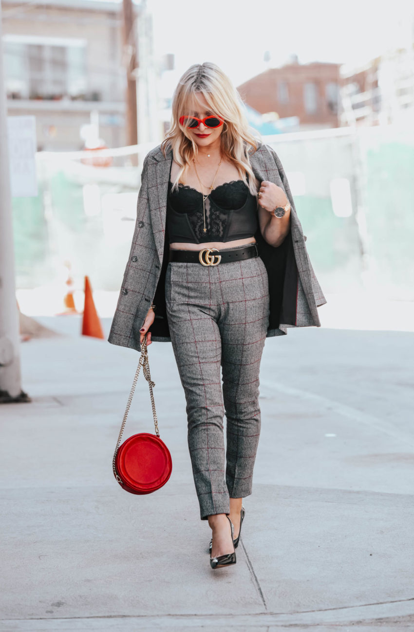 Plaid Pant Suit, Vintage Bustier.