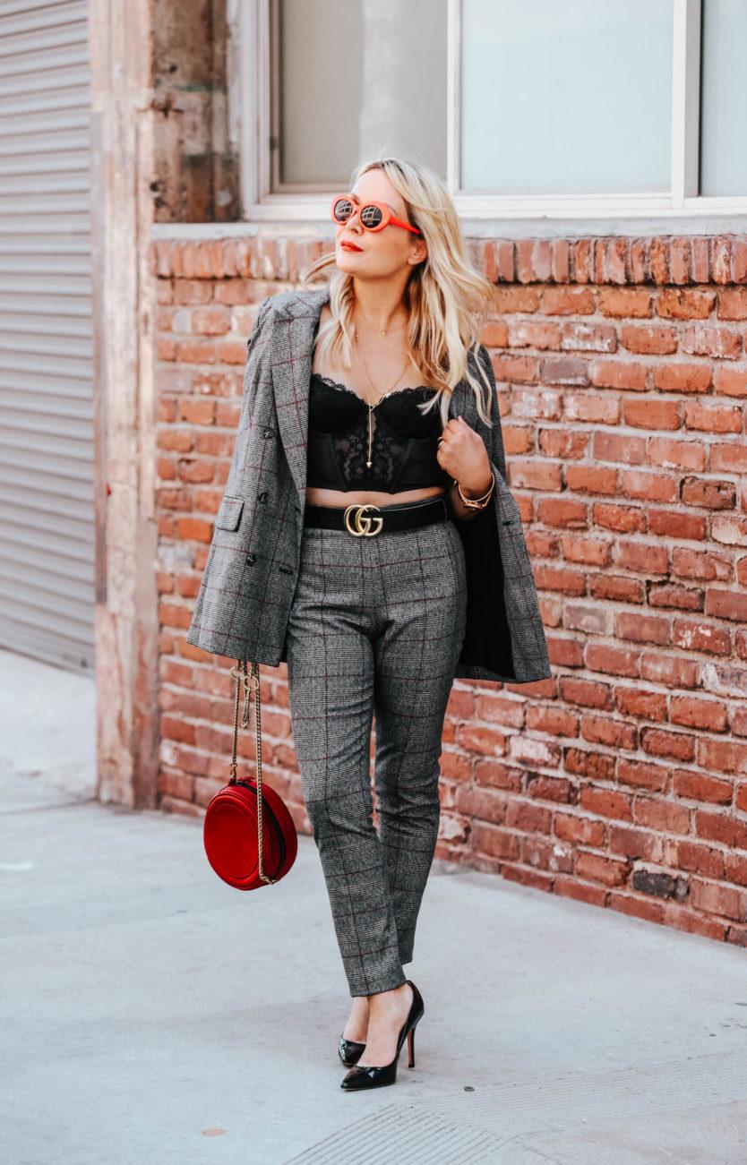 Plaid Pant Suit, Vintage Bustier.