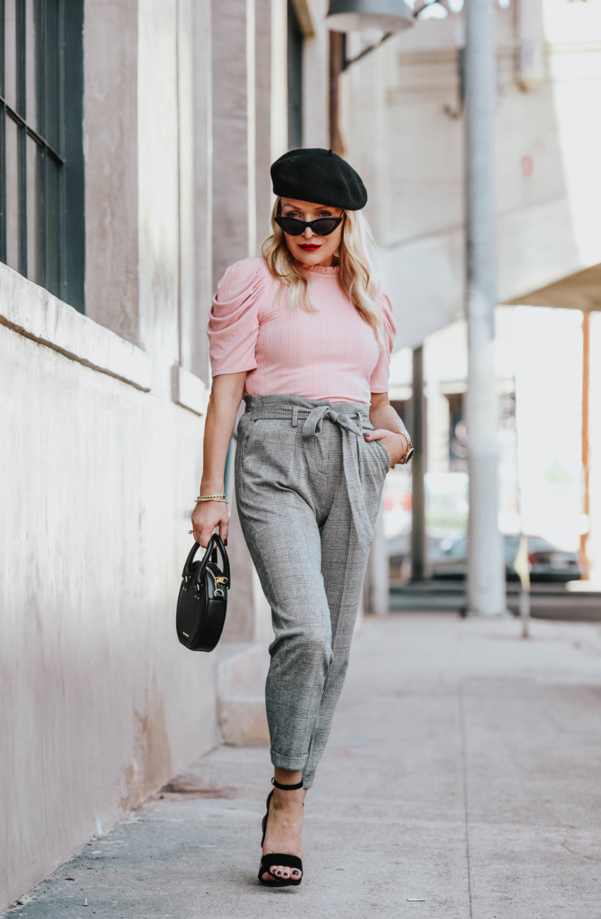 CeCe By Cynthia Steffe | Sugarhigh | Plaid Pants, Pink Top, Black Beret featured by top Los Angeles fashion blog The Hunter Collector