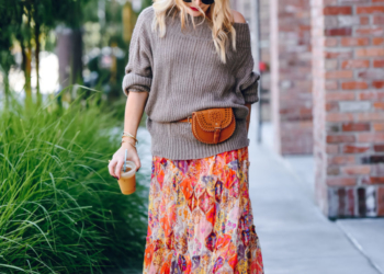 Floral Maxi Skirt, Off Shoulder Sweater.