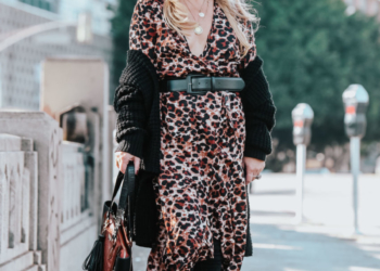 Leopard Dress, Faux Croc Tote.