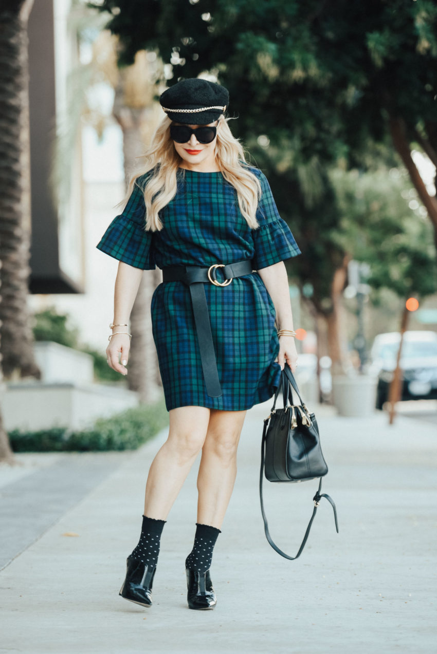 Plaid Dress, Ankle Socks & Heels.