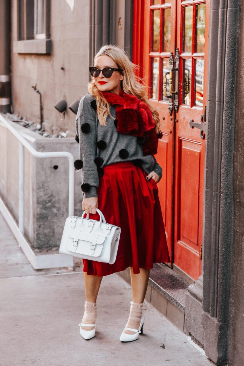 red midi skirt