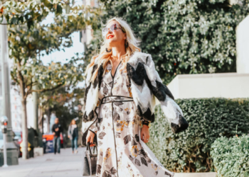 Floral Dress, Faux Fur Jacket.