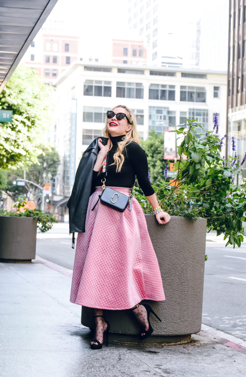 Pink Circle Skirt, Vintage Leather.