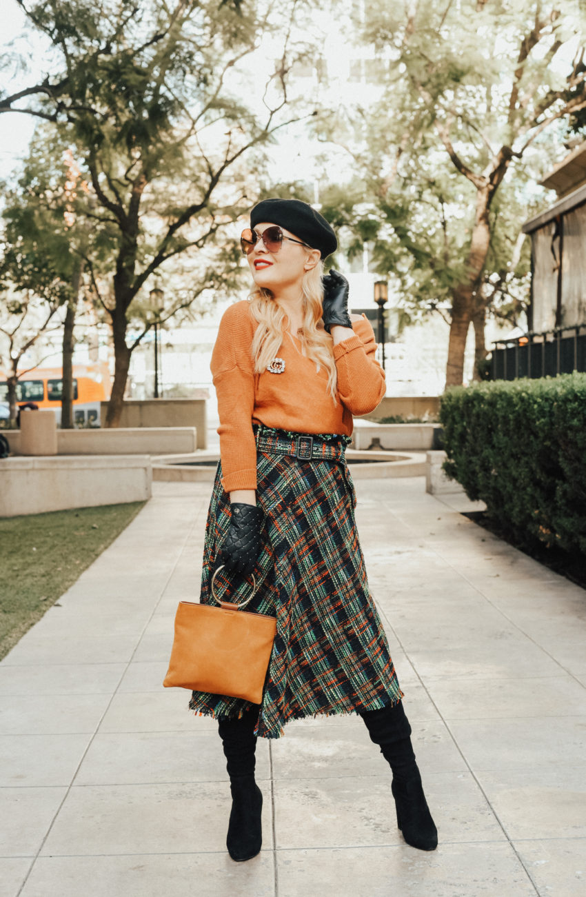 Plaid Skirt, Rust Sweater.