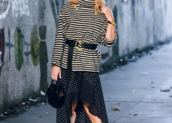 Striped Sweater, Dotted Skirt.