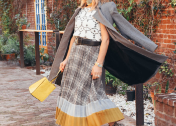 Grey Plaid Skirt, Embroidered Top.