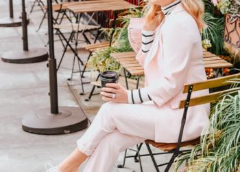 Pink Suit, Pink Sneaks & Stripes.