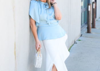 Baby Blue Blouse, White Ruffled Skirt.