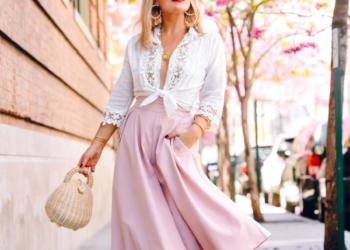Pink Midi Skirt, Strappy Heels.