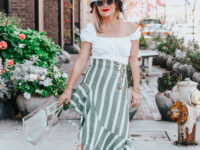 green striped skirt