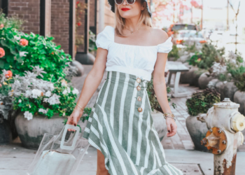 Green Striped Skirt, Bucket Hat.