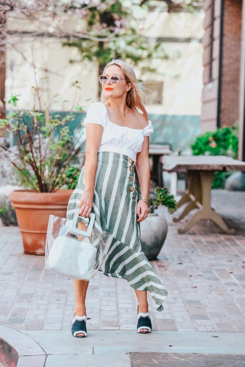 green striped skirt