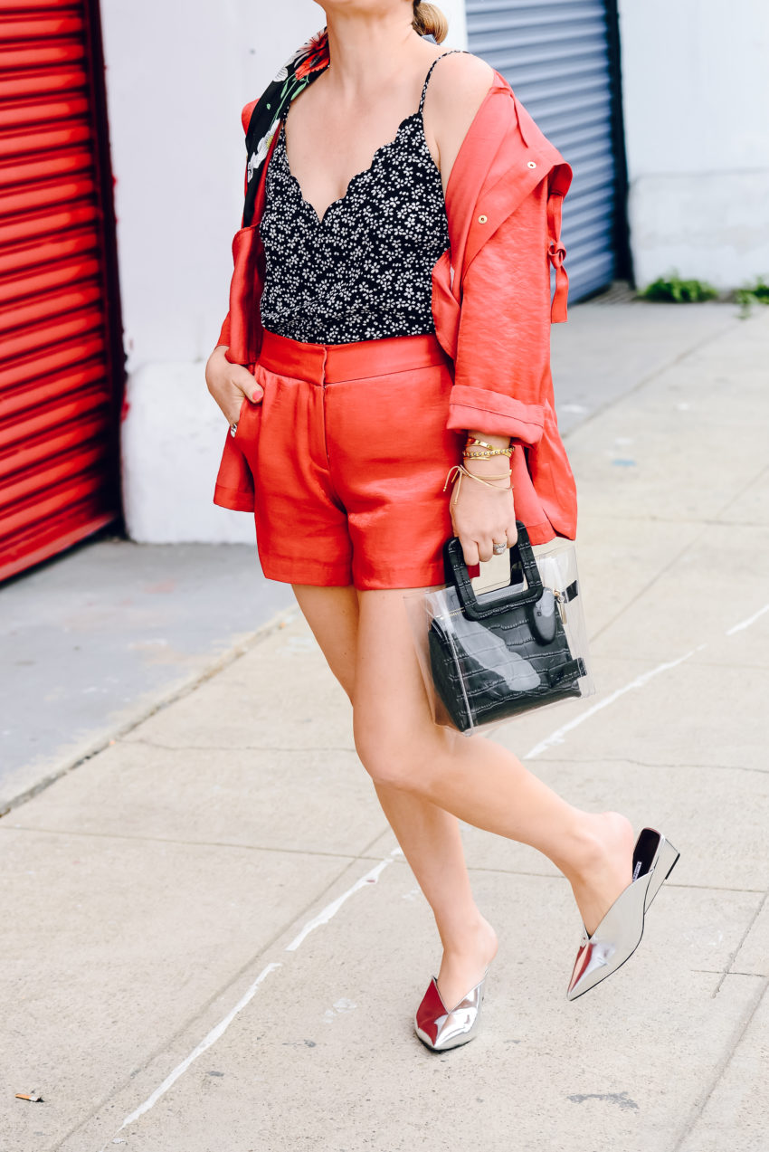 red shorts suit
