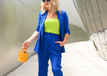 Blue Pant Suit & Neon.
