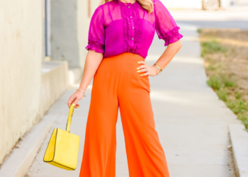 Orange Wide Leg Pants, Magenta Top.