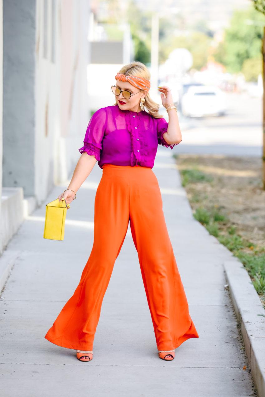 orange wide leg
