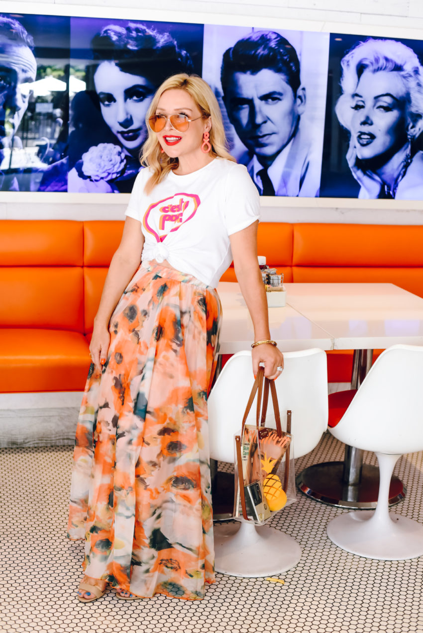 Orange Crush: Floral Maxi Skirt.