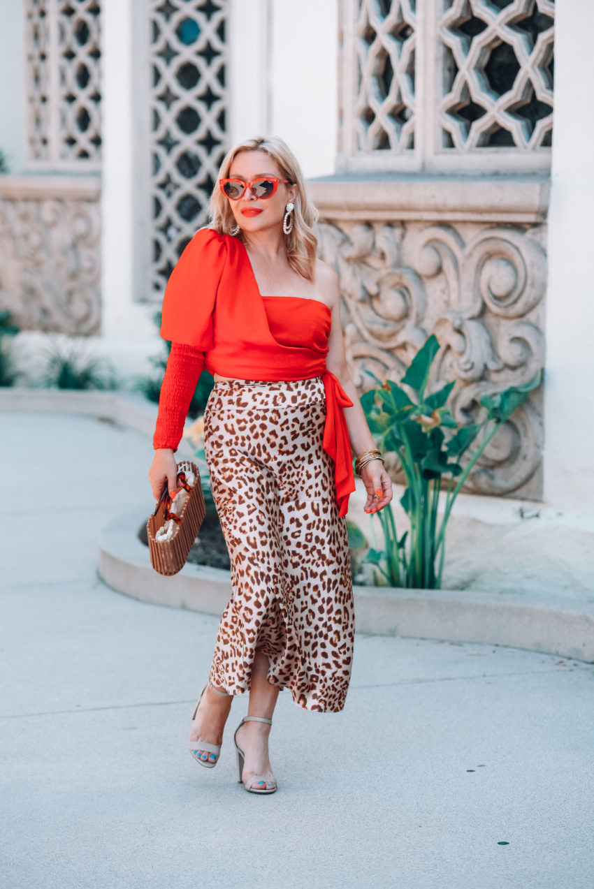 Red One Shoulder Top, Leopard Skirt.