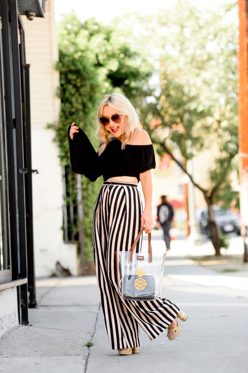 Striped Wide Leg Pants, Bell Sleeve Top.