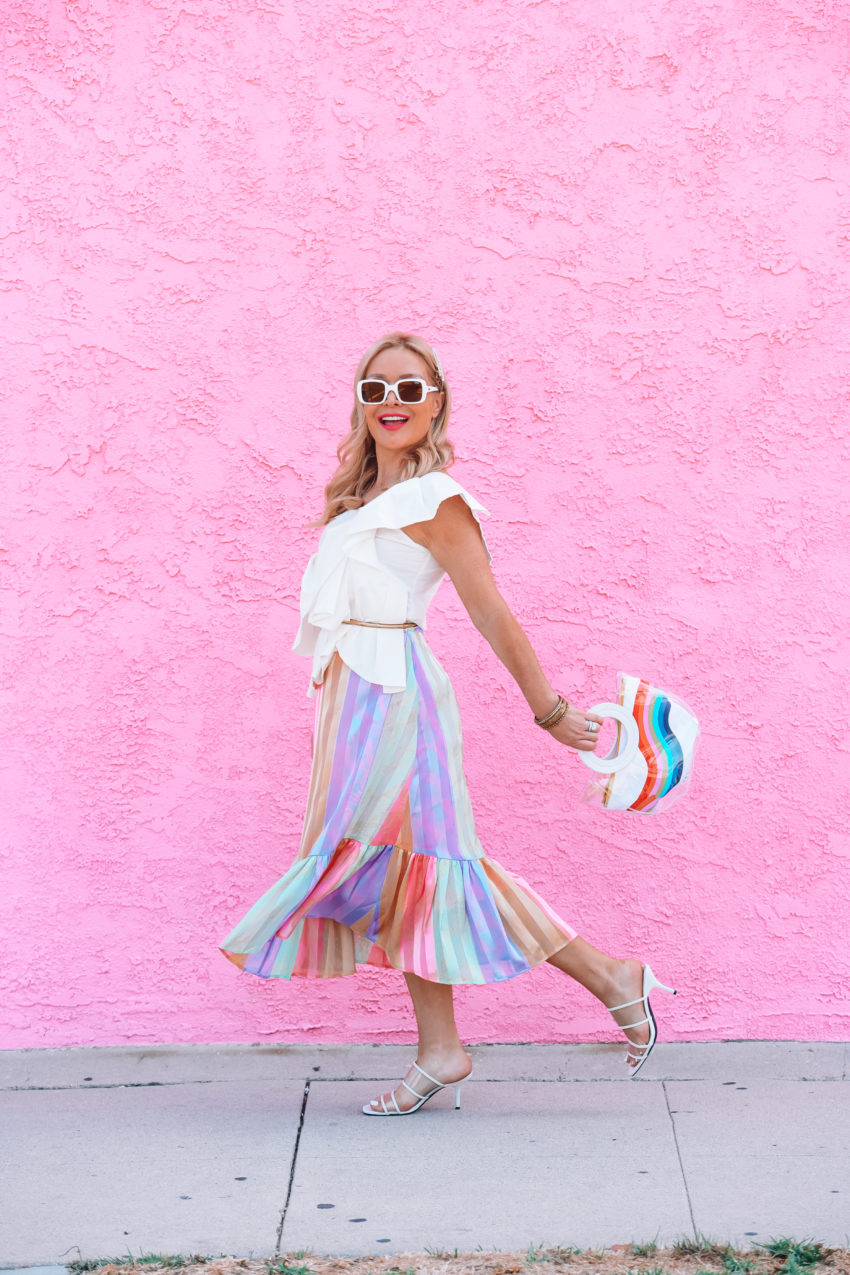 Rainbow Skirt & Ruffled Top.