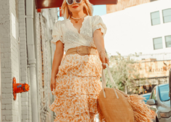 Ruffled Skirt, Eyelet Top, Straw Bag.
