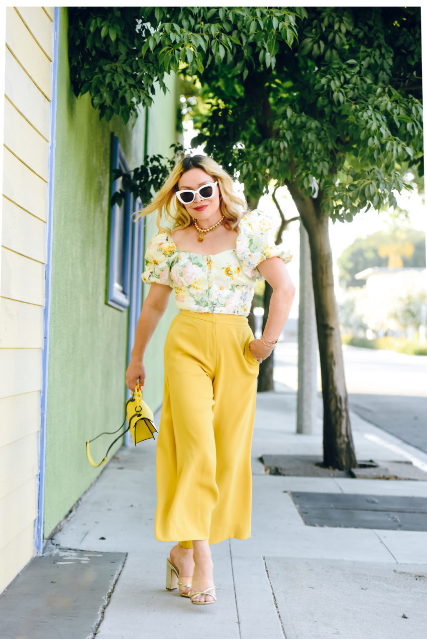 Yellow Culottes, Floral Crop Top.