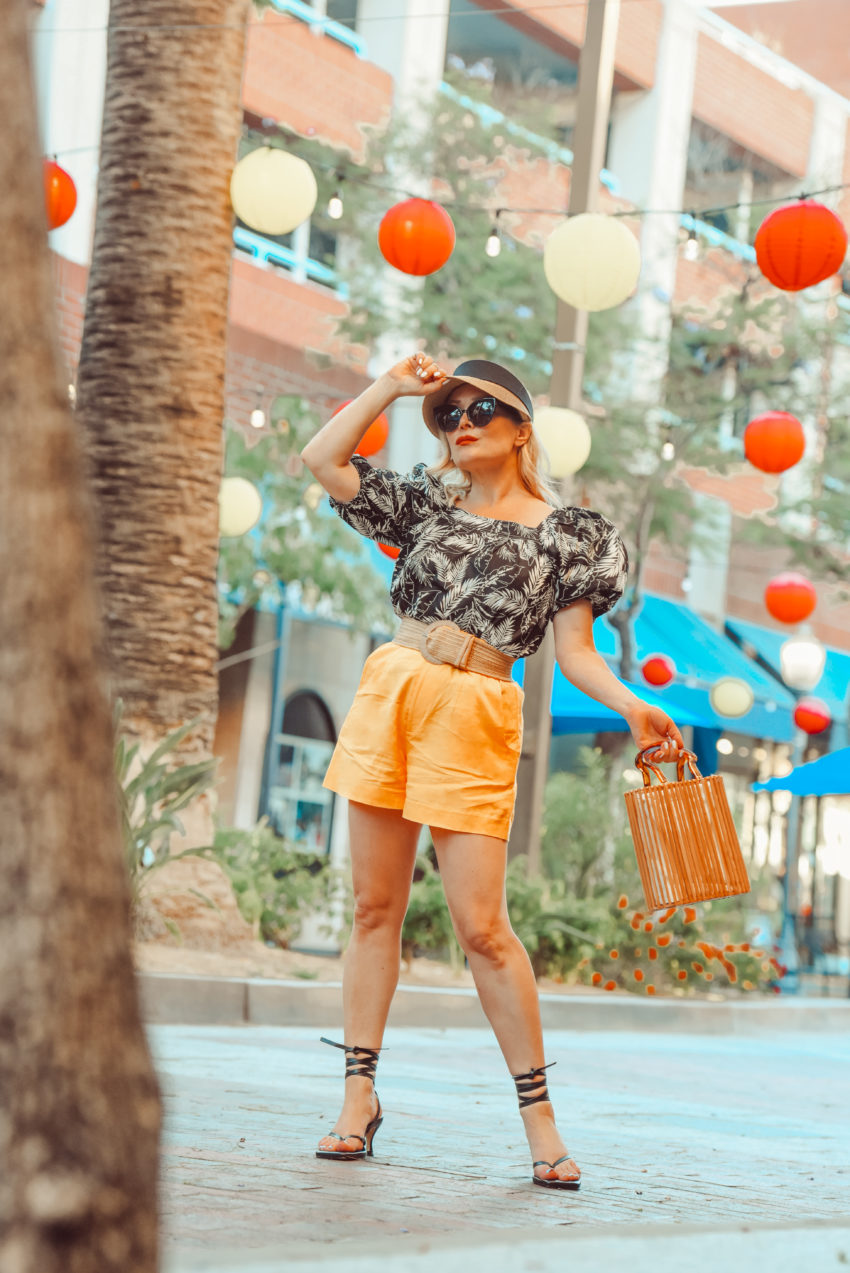 Orange Sorbet Shorts, Palm Print Top.