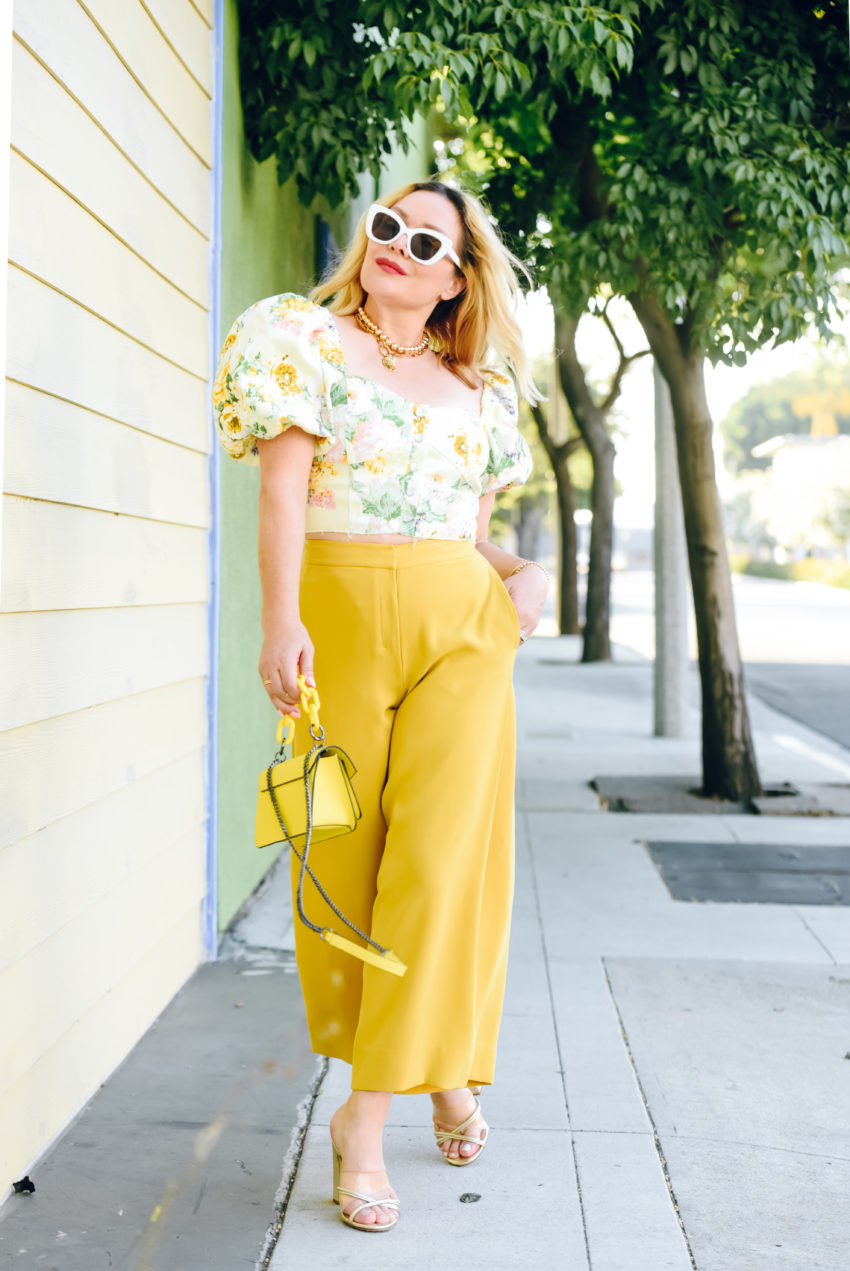 yellow culottes