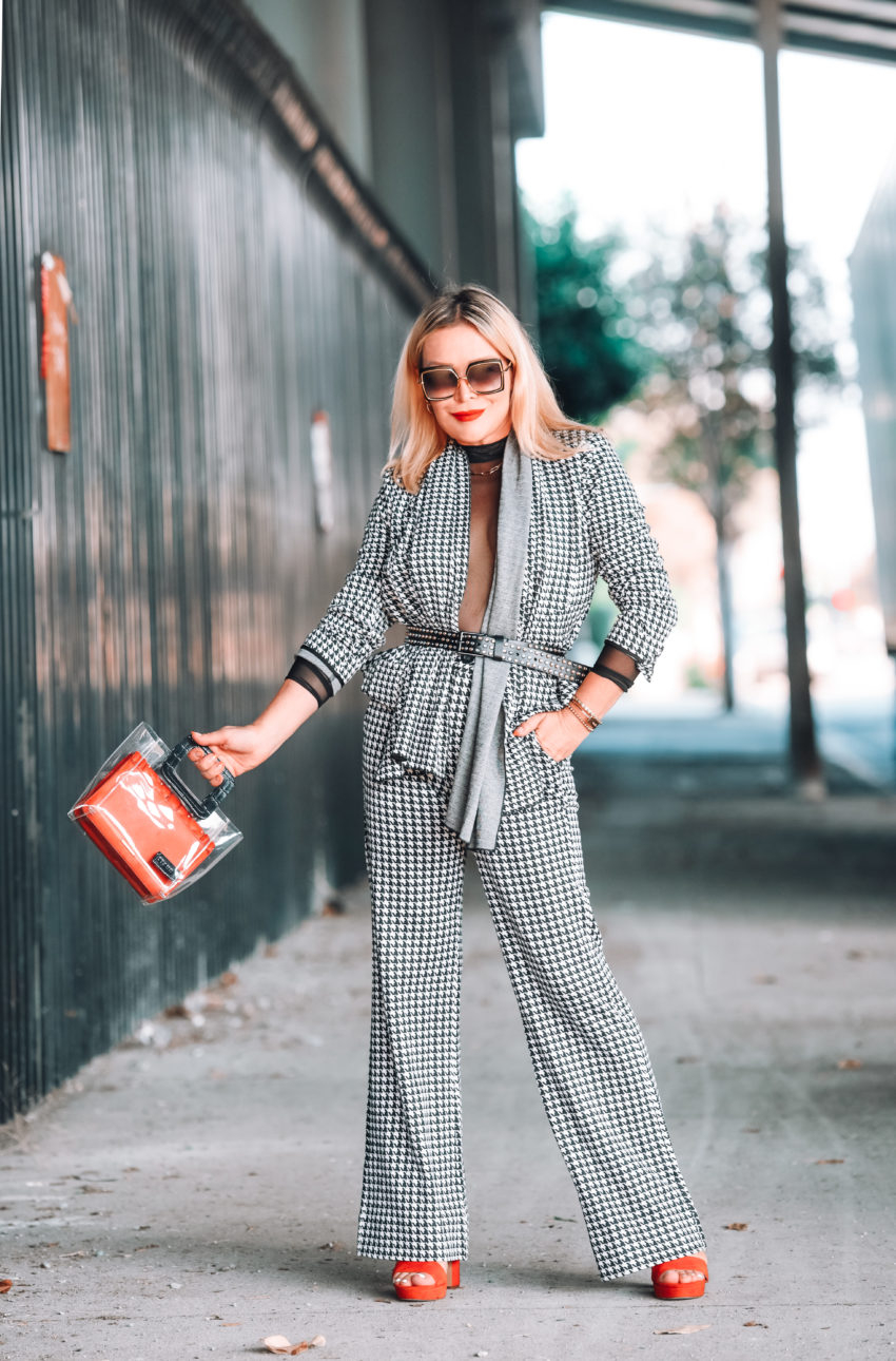 Houndstooth Pantsuit, Sheer Bodysuit.