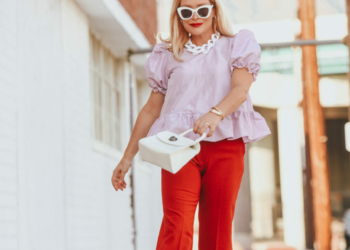 Lilac Peplum Top, Red Hot Trousers.