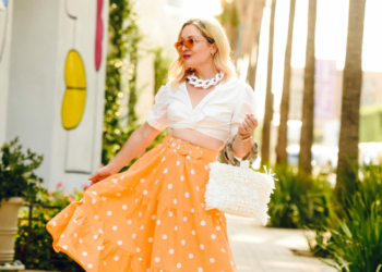 Orange Dot Skirt, Chunky Chain Necklace.