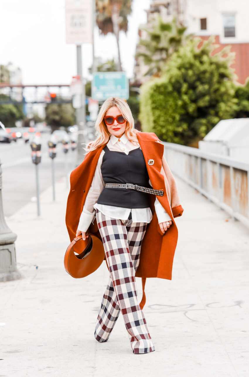 Buffalo Plaid Pants, Camel Coat.