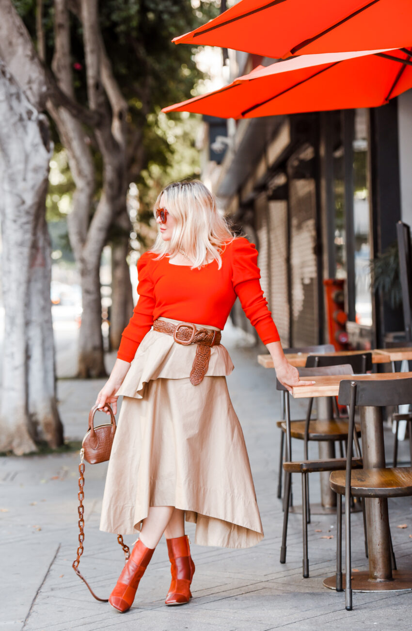 Khaki Skirt, Red Puff Sleeve Sweater.