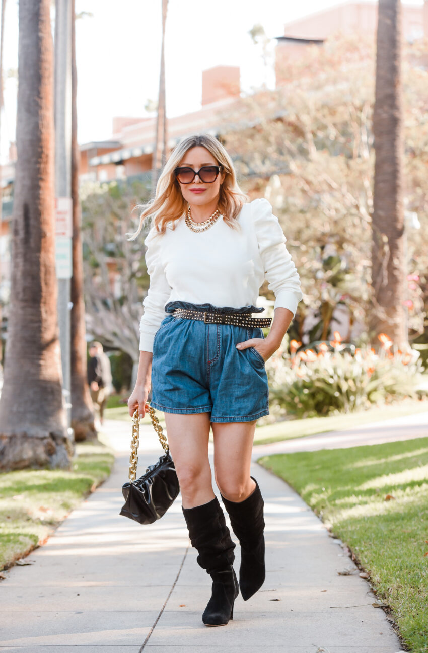 Denim Shorts, Puff Sleeve Sweatshirt.