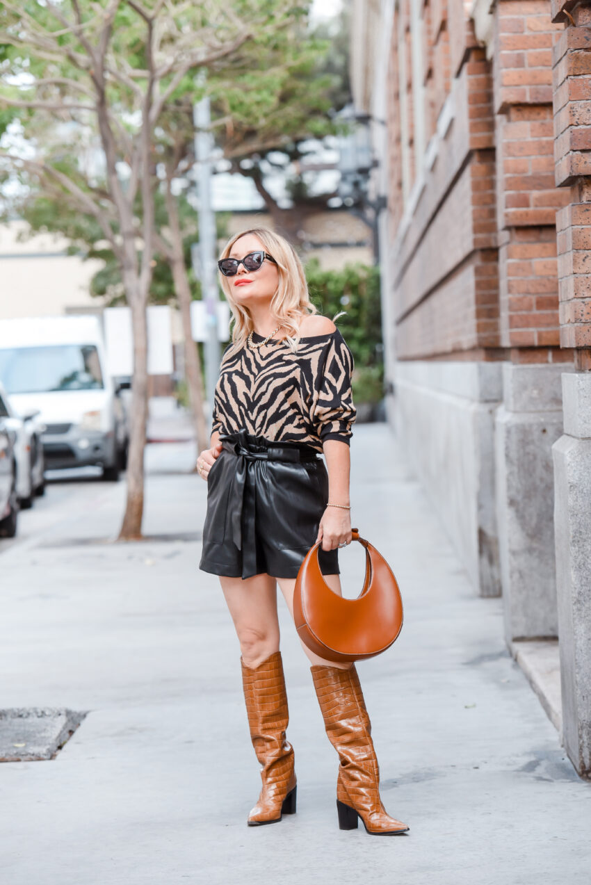 Tiger Striped Sweater, Cowgirl Boots.
