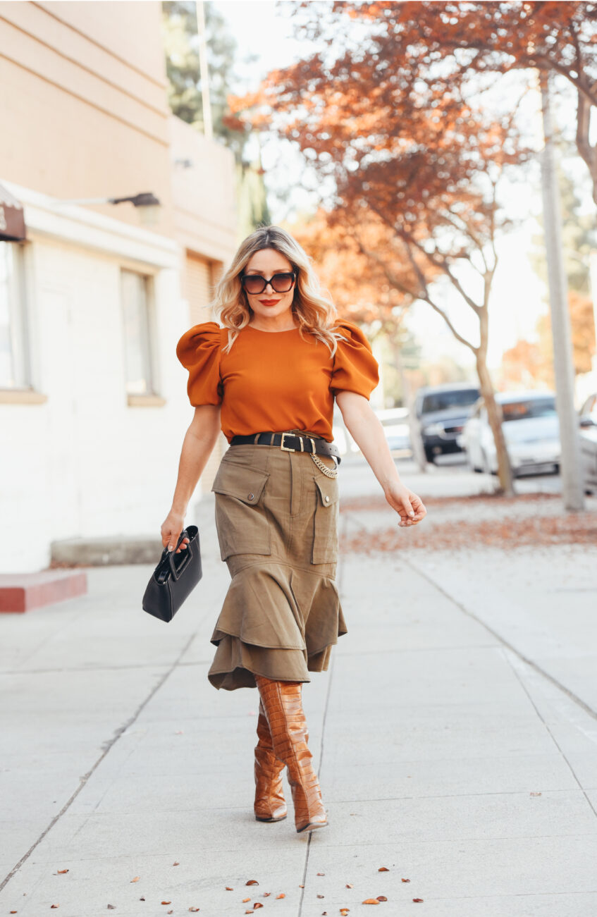 Orange Puff Sleeve, Cargo Skirt.