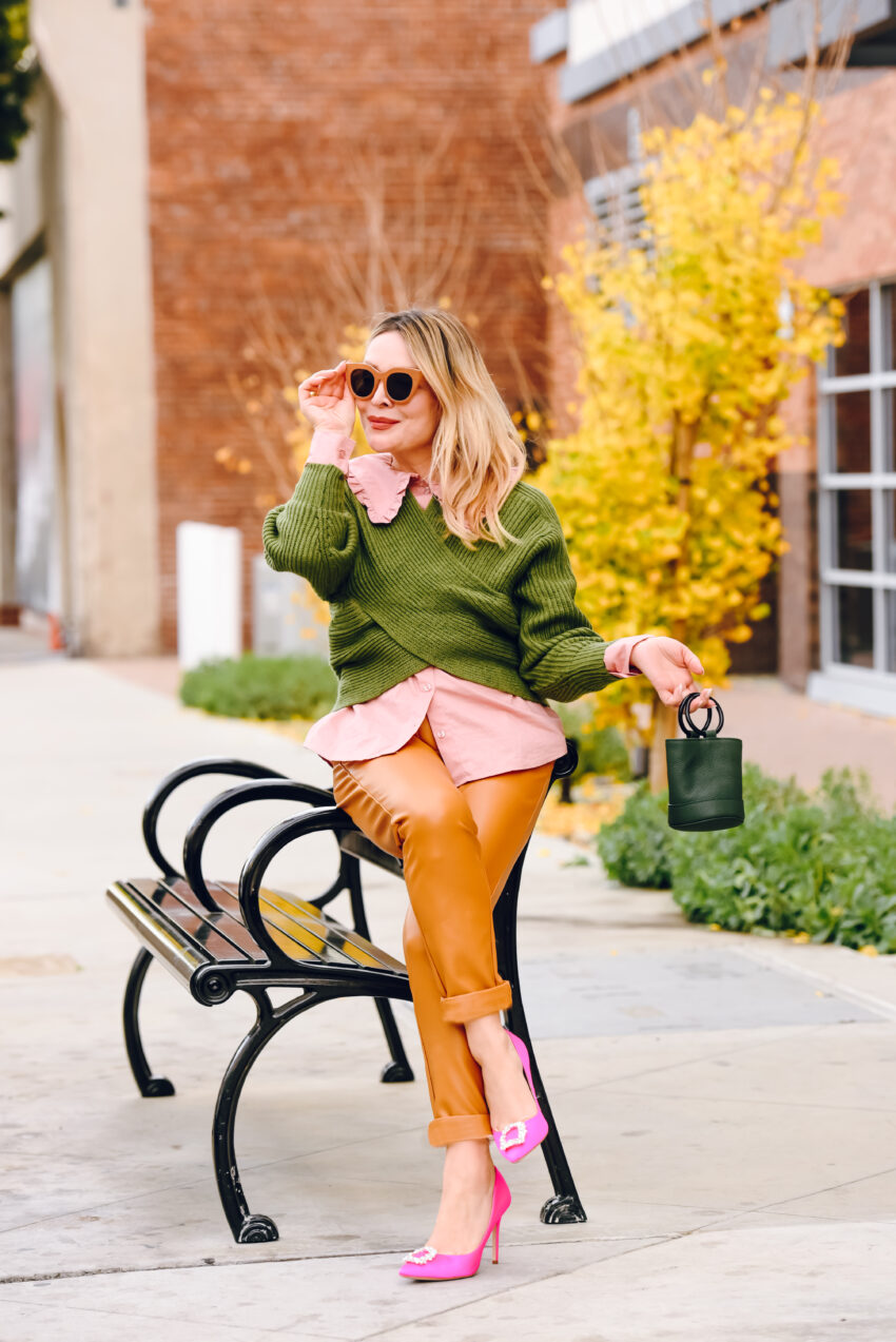 Pink Shirt, Green Sweater, Faux Leather.