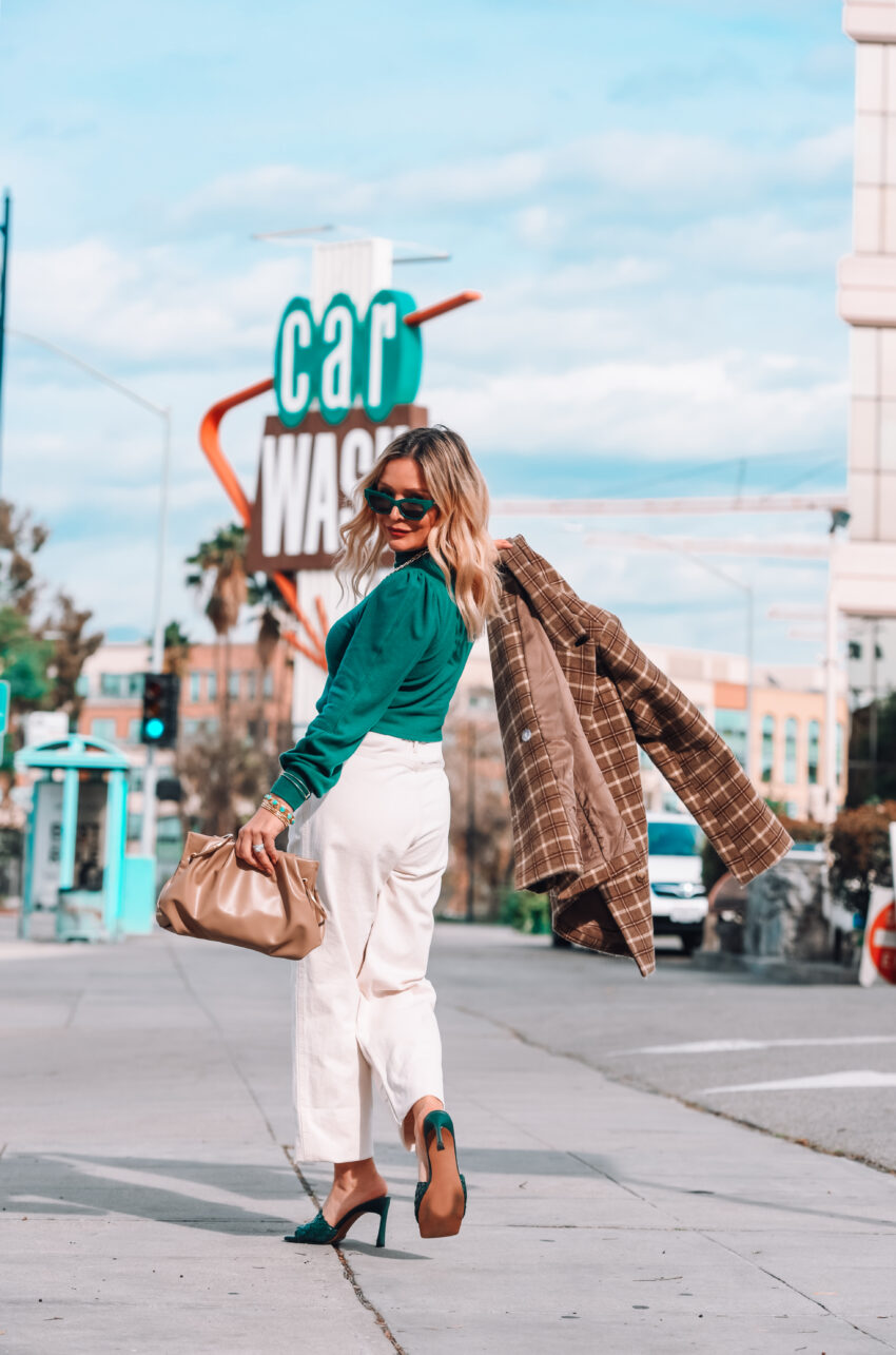 Cropped Green Sweater, Baggy Denim.