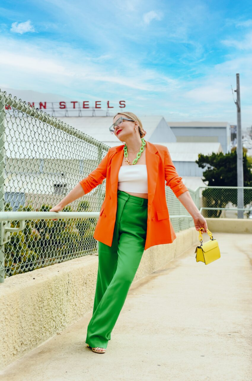 Orange Blazer, Apple Green Trousers.