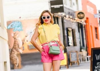 Pink Shorts, Yellow Ruffled Top.
