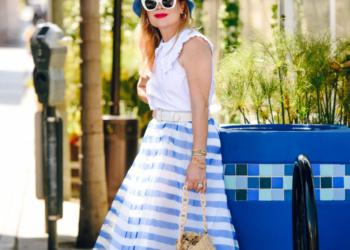 Blue Stripe Midi Skirt, Bucket Hat.