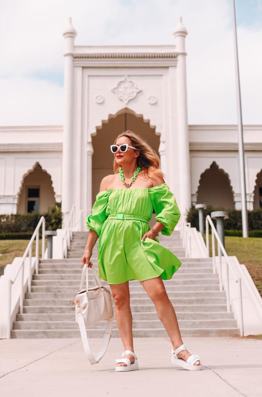 Lime Green Dress, Dad Sandals.