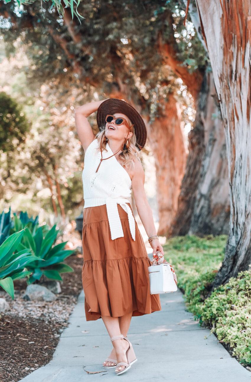 brown midi skirt