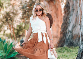 Milk Chocolate Brown Midi Skirt, Knit Top.