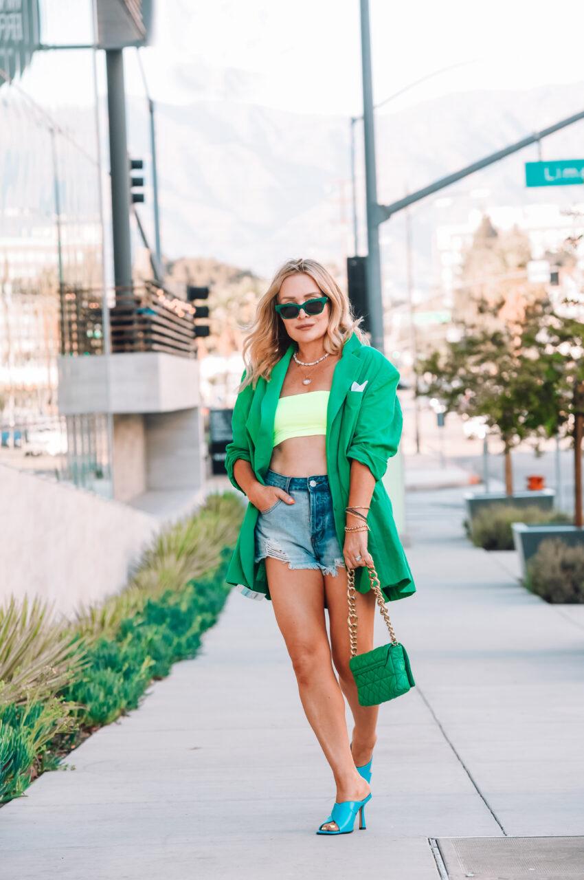 Oversized Green Blazer, Denim Shorts.
