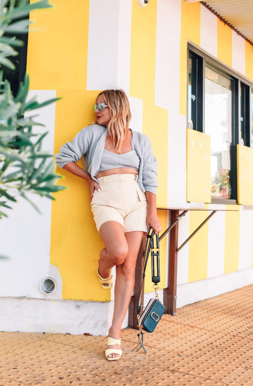 Grey Sweater Set, Yellow High Waist Shorts.